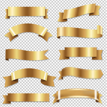 Big Golden Ribbons Set With Gradient Mesh, Vector Illustration