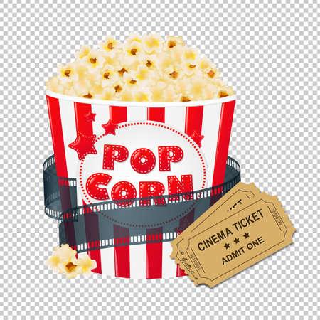 Popcorn In Cardboard Box With Tickets Cinema Gradient Mesh, Vector Illustration