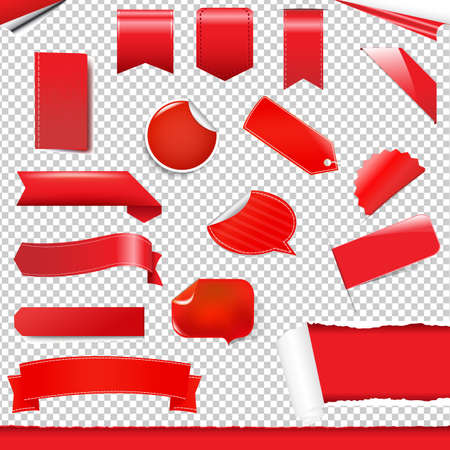 Red Labels And Stickers Set Gradient Mesh, Vector Illustration