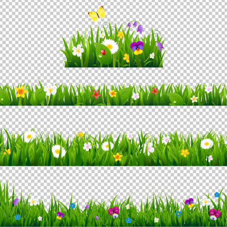 Big Set Flowers Borders Gradient Mesh, Vector Illustration