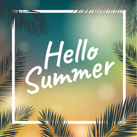 holiday background: Banner Summer Time With Palm Trees, Vector Illustration, With Gradient Mesh Illustration