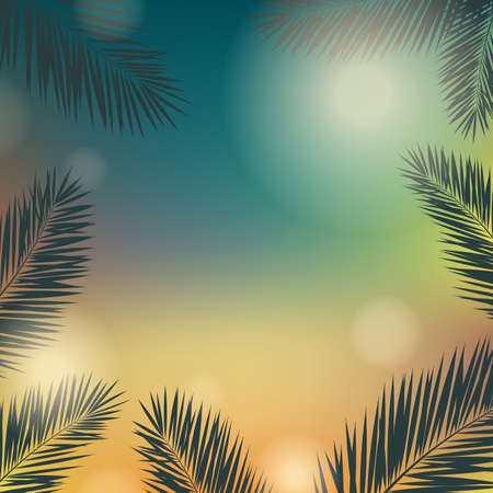 beach sunset: Banner Summer Time With Palm Trees, Vector Illustration, With Gradient Mesh Illustration