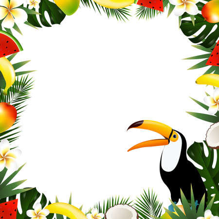 Summer tropical frame vector illustration with gradient mesh