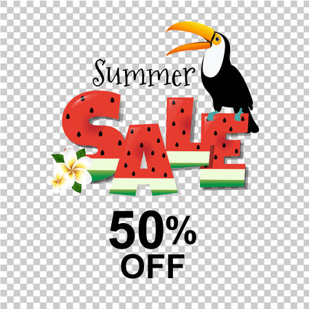 Summer sale poster with toucan vector Illustration Illustration