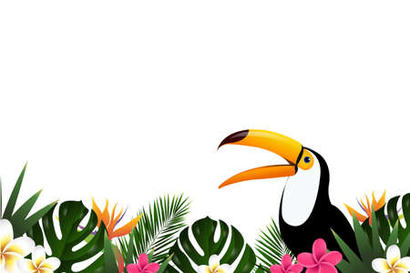 Summer sale banner with toucan vector illustration with gradient mesh Illustration