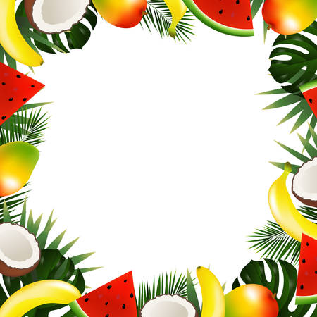 Tropical fruit frame vector illustration with gradient mesh