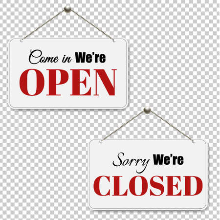 Open and closed signs set. Illustration