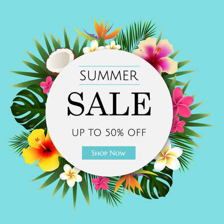 Summer sale tropical banner. Illustration