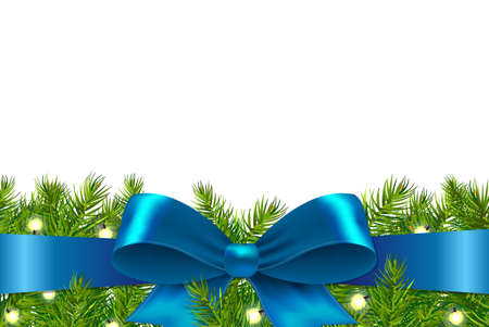 Blue Ribbon With Fir Tree, With Gradient Mesh, Illustration