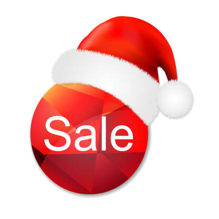 half price: Sale Poster With Santa Claus Cap, With Gradient Mesh, red circleIllustration