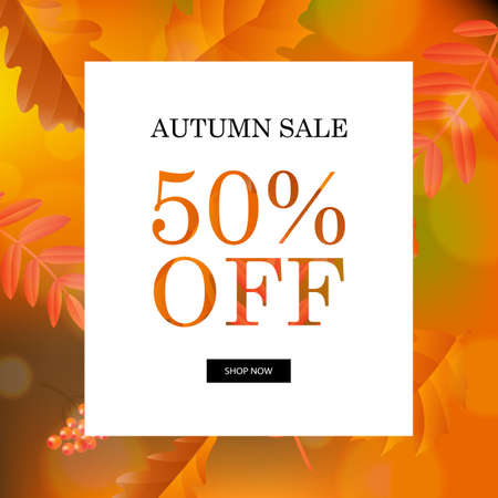 two: Autumn Sale Orange Poster, Vector Illustration, With Gradient Mesh.
