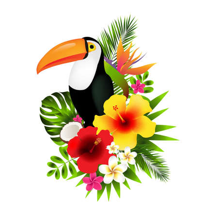 Toucans And Flowers Gradient Mesh, Vector Illustration
