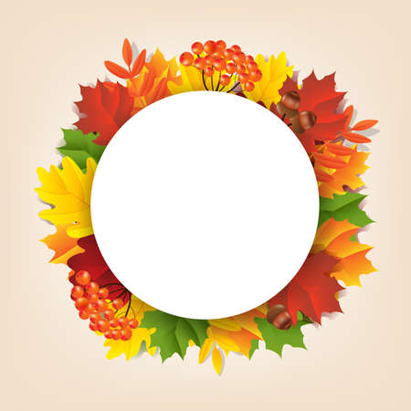 Autumn Banner With Leaves Gradient Mesh, Vector Illustration