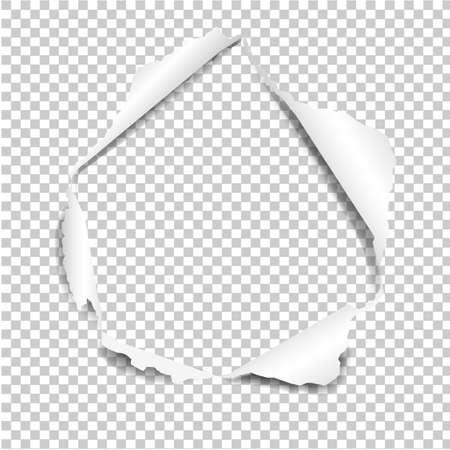Gescheurd papier geïsoleerd in transparante achtergrond Verloopnet, vectorillustratie