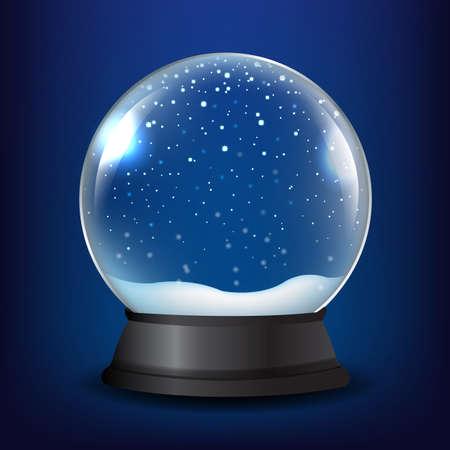 De Sneeuwbol van de winter met Blauwe Achtergrond met Gradiëntnetwerk, Vectorillustratie Stockfoto - 88366901