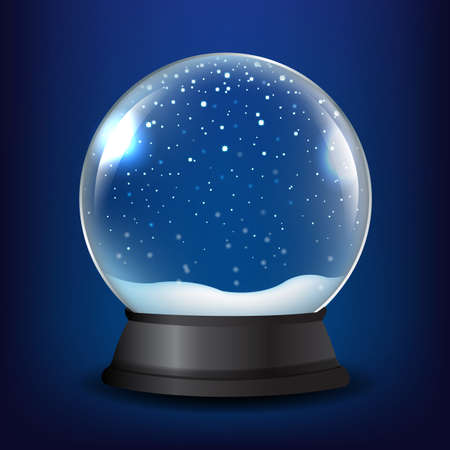 Winter Snow Globe With Blue Background With Gradient Mesh, Vector Illustration