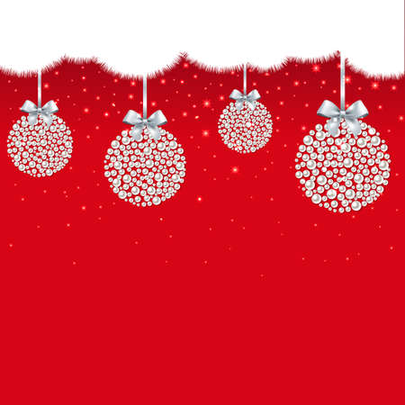 Christmas Postcard With Balls With Gradient Mesh, Vector Illustration