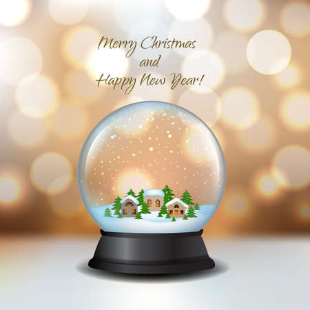 Snow Globe With House And Bokeh With Gradient Mesh, Vector Illustration Illustration