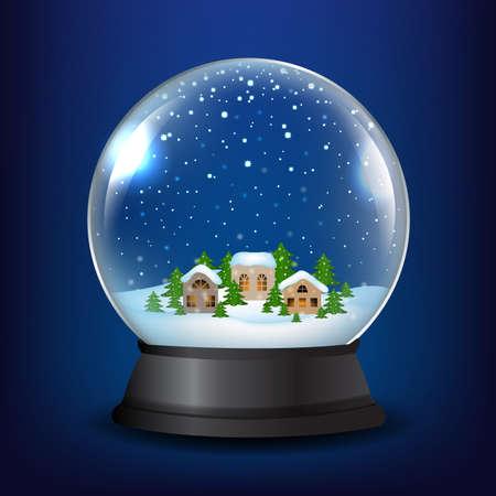 Winter Snow Globe With Gradient Mesh Illustration