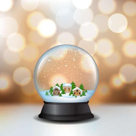 Snow Globe with golden bokeh background vector illustration