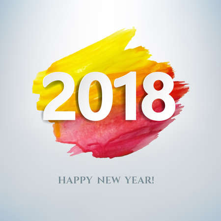 2018 New Year Card With Gradient Colored Paint Illustration.
