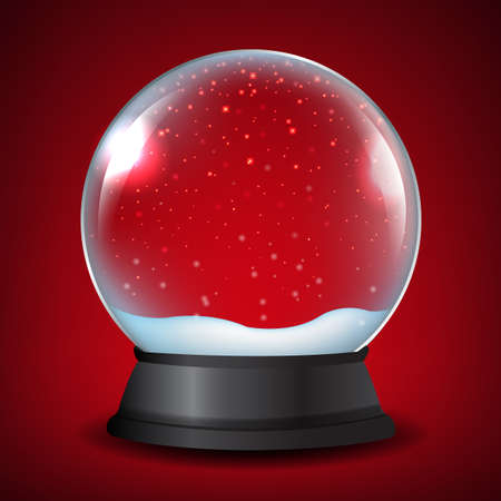 torn edge: Winter Snow Globe With Red Backdrop Design Illustration. Illustration