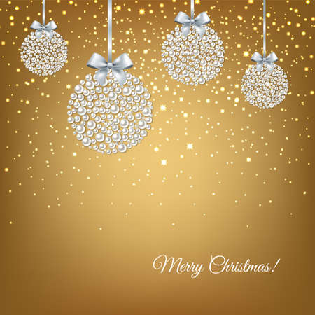 Golden Xmas Postcard With Balls With Gradient Mesh, Vector Illustration Illustration