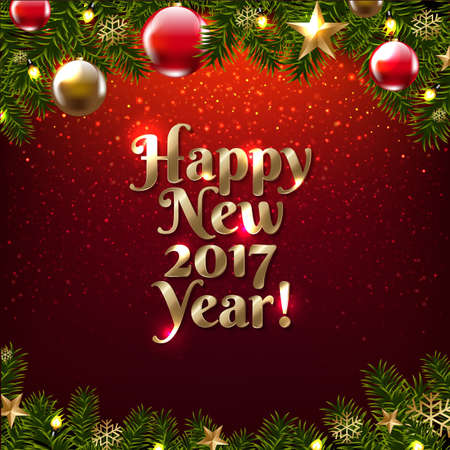 Happy New Year Poster With Gradient Mesh, Vector Illustration