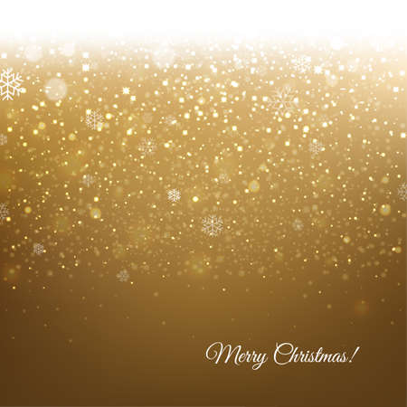 Golden Christmas Banner With Snow With Gradient Mesh, Vector Illustration