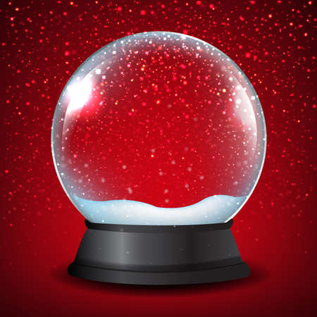 Winter Snow Globe With Red Background With Gradient Mesh, Vector Illustration