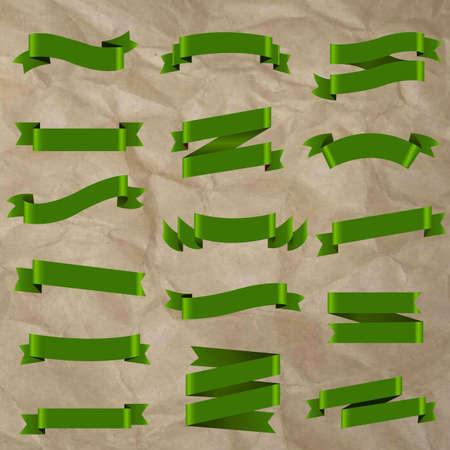 Green Ribbon Isolated, Vector Illustration