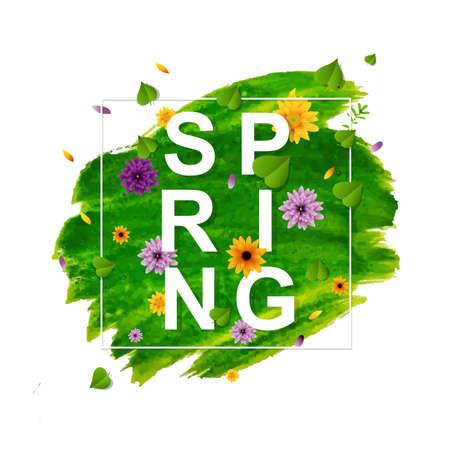 Spring Banner With Flower, Vector Illustration