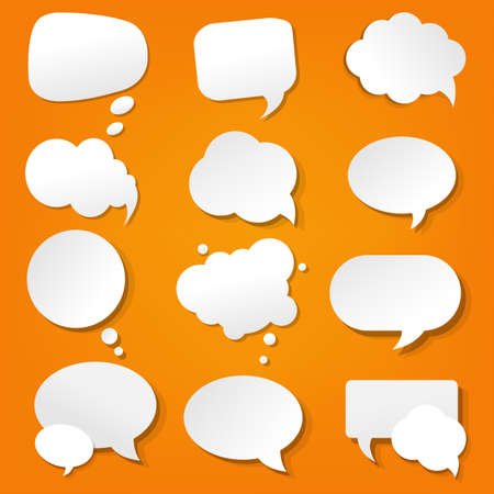 Speech Bubble Collection In Orange Background With Gradient Mesh, Vector Illustration