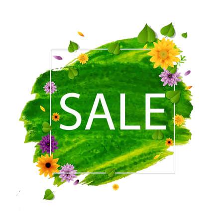Sale Spring Banner With Flower, Vector Illustration