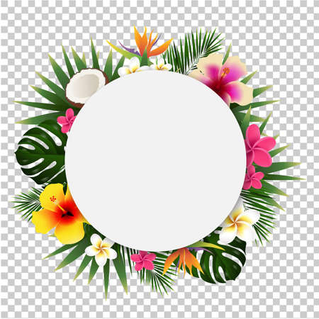 Summer Sale Tropical Banner Isolated, Vector Illustration
