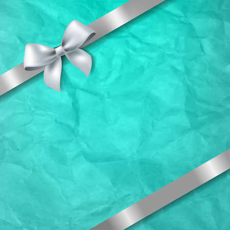Mint Paper Texture Background With White Ribbon Bow With Gradient Mesh, Vector Illustration