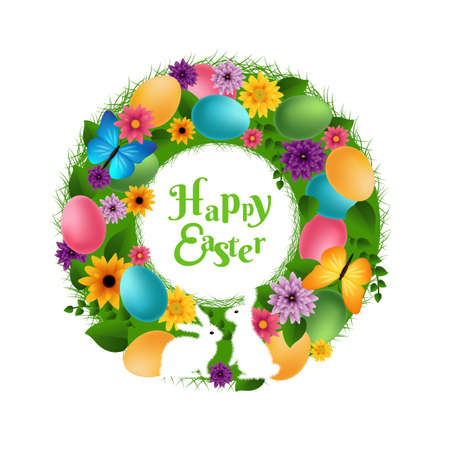 Happy Easter Wreath With Gradient Mesh, Vector Illustration