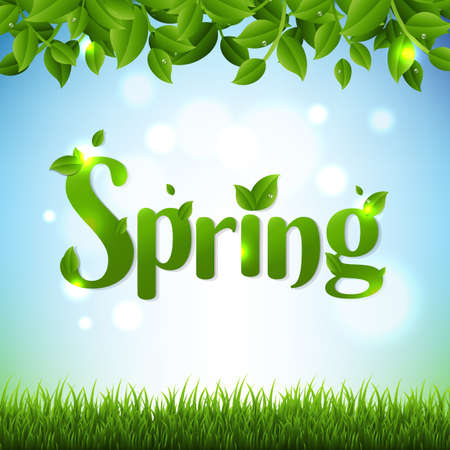 Spring Banner With Green Branches And Grass With Gradient Mesh, Vector Illustration 矢量图像