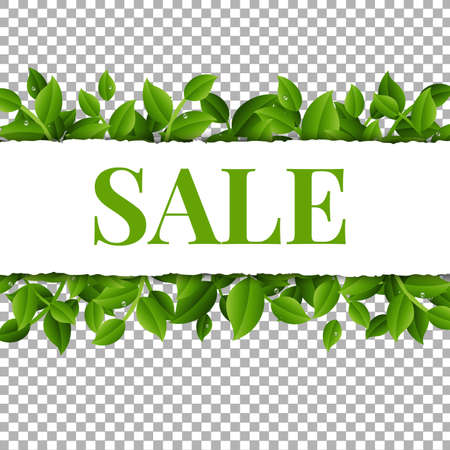 Sale Poster With Leaves And Transparent Background With Gradient Mesh, Vector Illustration