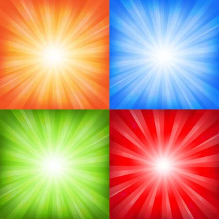 Colorful Sunburst Backgrounds Set With Gradient Mesh, Vector Illustration