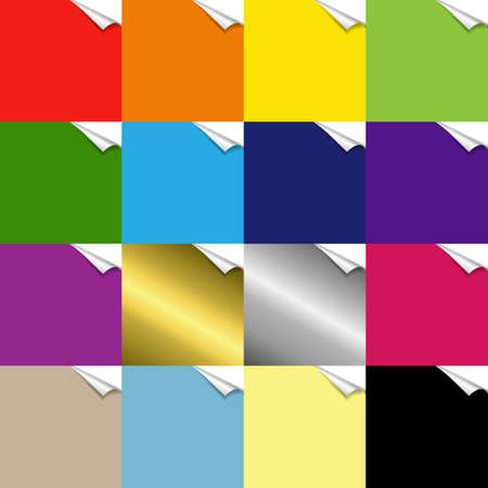 Color Paper With Corners Set With Gradient Mesh, Vector Illustration