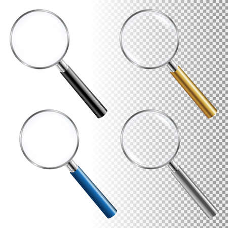 Magnifying Glass Set With Gradient Mesh, Vector Illustration Illustration