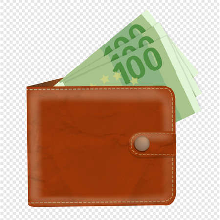 Wallet With Banknotes With Gradient Mesh, Vector Illustration