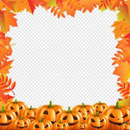 Autumn Discount Halloween Poster Isolated Transparent Background With Gradient Mesh, Vector Illustration