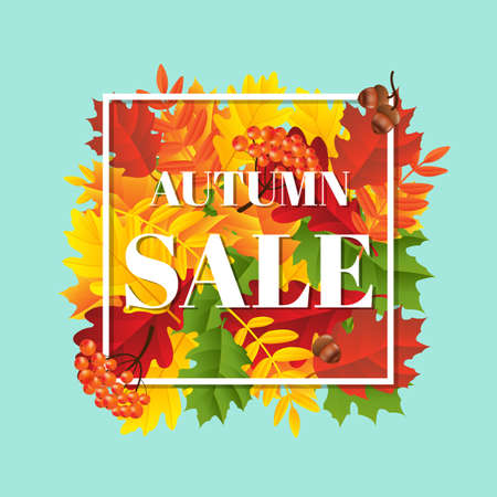 Autumn Sale Banner With Leaf With Gradient Mesh, Vector Illustration Ilustrace