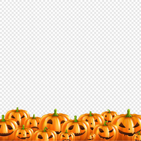 Pumpkin Border Transparent Background With Gradient Mesh, Vector Illustration 向量圖像