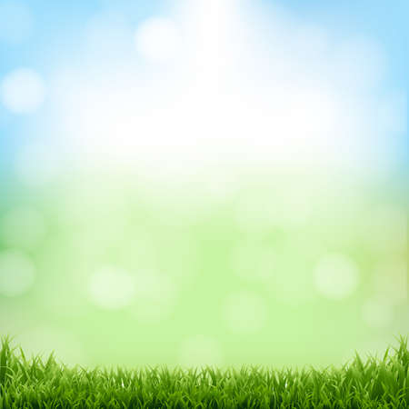 Nature Green Background With Bokeh And Grass With Gradient Mesh, Vector Illustration 向量圖像