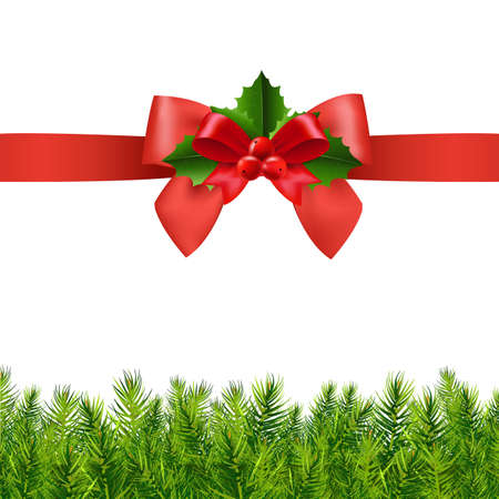 Red Ribbon With Holly Berry And Firtree With Gradient Mesh, Vector Illustration