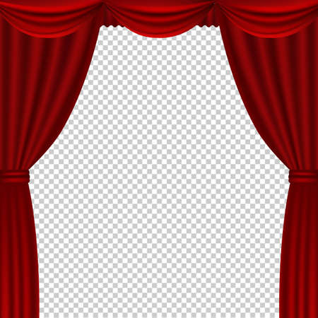 Red Theater Curtains Transparent Background With Gradient Mesh, Vector Illustration