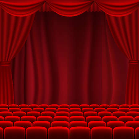 Cinema Screen With Red Curtains With Gradient Mesh, Vector Illustration